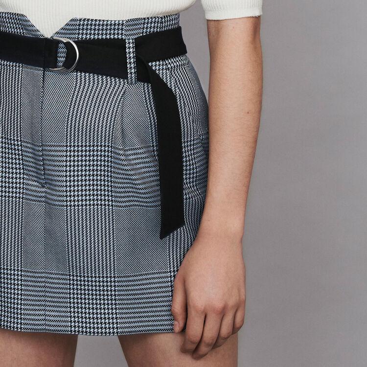 Kurzer Karo Rock mit Gürtel : Röcke & Shorts farbe Blau