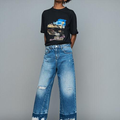 Breite Jeans mit Used-Details : Urban farbe Blau