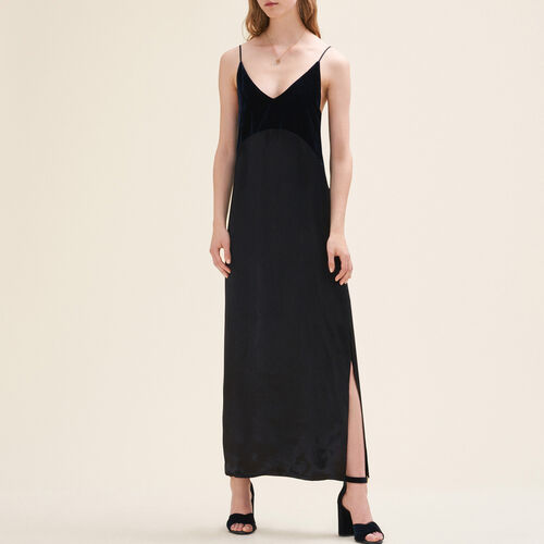 Langes Kleid aus zwei Materialien - Kleider - MAJE