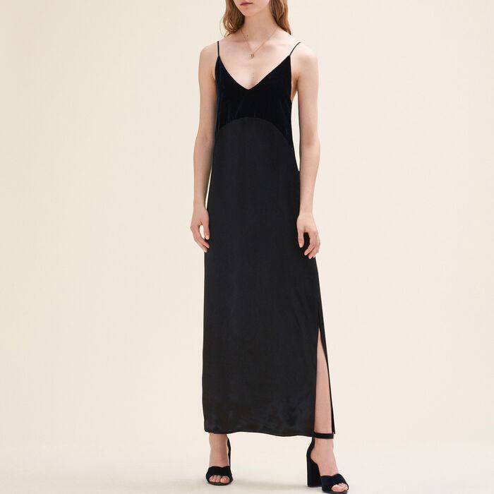 Vestido largo de doble género : Robes farbe Marineblau