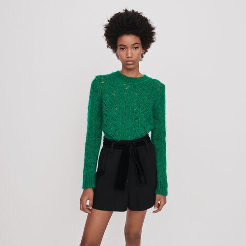 Velour Short mit Gürtel : Röcke & Shorts farbe Schwarz