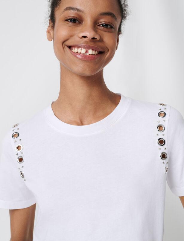 마쥬 반팔티 MAJE White T-shirt with rock eyelets,Weiss