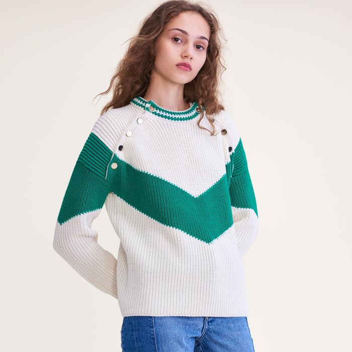 Dreifarbiger Pullover mit Druckknöpfen : Pulls & Cardigans farbe VERT