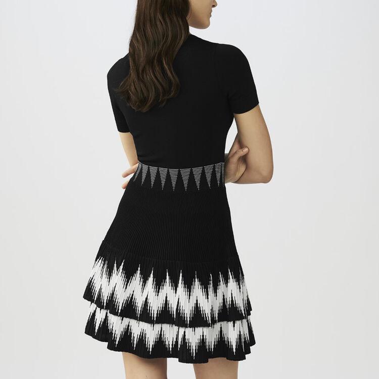 Strickkleid mit Rüschen : Kleider farbe Schwarz