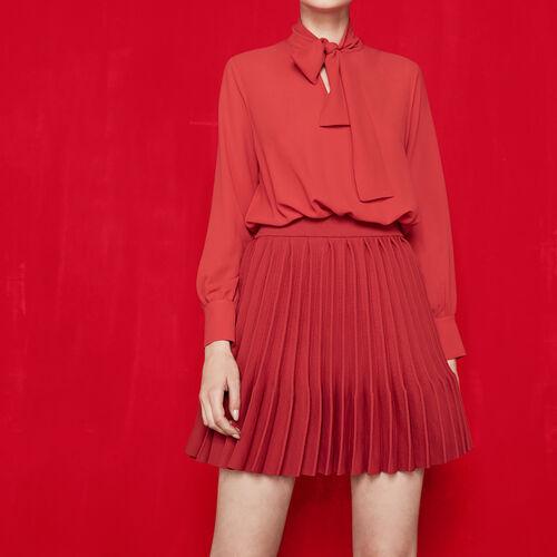 Trompe-l'oeil-Kleid mit Plissierung : Kleider farbe Rot