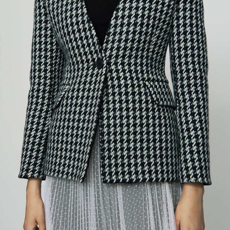 Jacke aus Wolle mit Hahnentrittmuster : Blazers farbe Jacquard