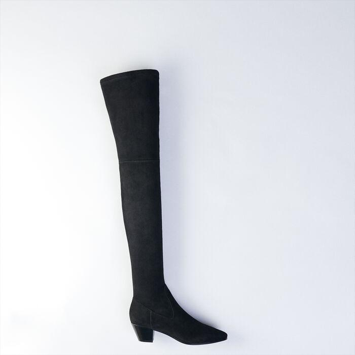 Overknees aus Stretch Ziegenleder : Stiefel & Boots farbe Schwarz