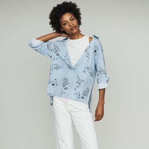 Gestreifte Bluse mit Paris Print : Tops farbe Blau