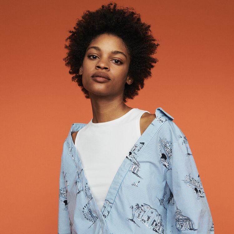Gestreifte Bluse mit Paris Print : Tops & Hemden farbe Blau
