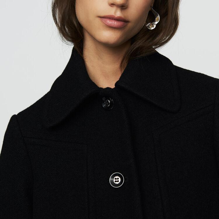 Woll-Trapezmantel : Mäntel farbe Schwarz
