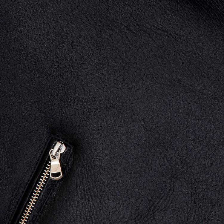 Bikerjacke aus Wollfell : Jacken farbe Schwarz