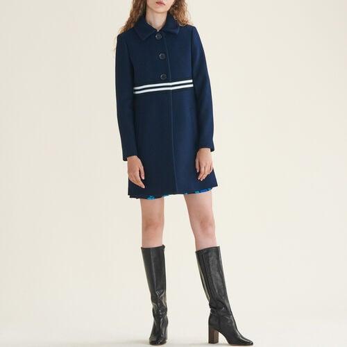 Gerader Mantel aus Wolle und Kaschmir : Mäntel farbe Marineblau