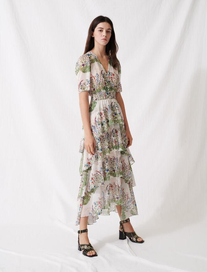 Volantkleid aus bedrucktem Musselin - Sommer Kollektion - MAJE