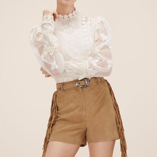 Shorts aus Veloursleder : Röcke und Shorts farbe Beige