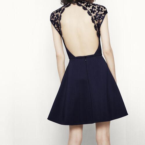 Kleid mit nacktem Rücken mit Spitze : Kleider farbe Blau