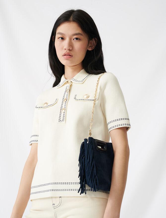 Kurzarm-Pullover im Poloshirt-Stil - Pullover & Strickjacken - MAJE