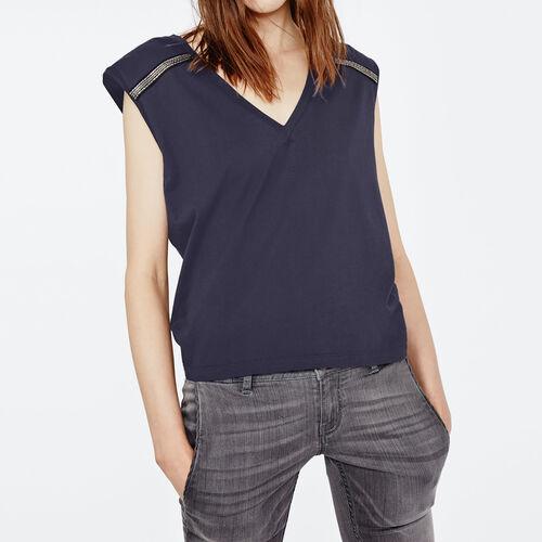 Ärmelloses t-shirt mit verzierung : T-shirts farbe Nachtblau
