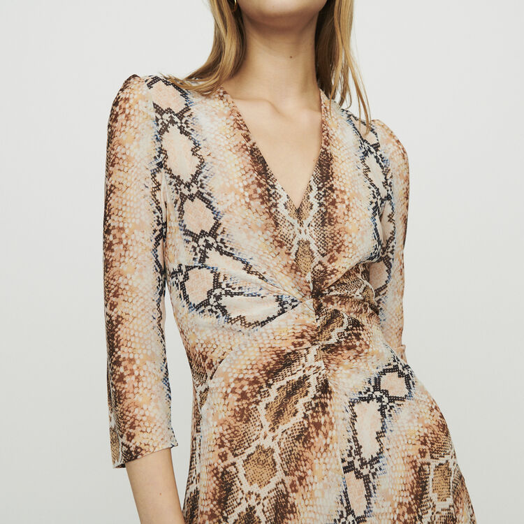 Langes Kleid mit Python Print : Kleider farbe Print