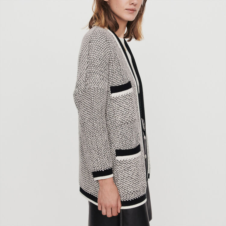 Cardigan mit Konstrast-Streifen : Pullover & Strickjacken farbe Schwarz