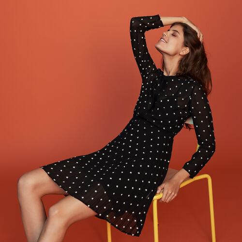 Plissee-Kleid mit Stickereien : Bekleidung farbe SCHWARZ