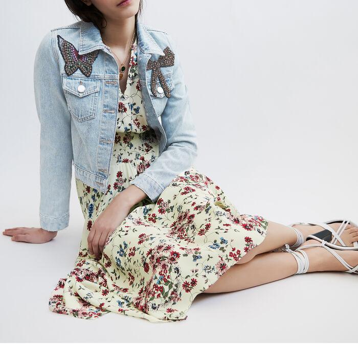 Kurze Jeansjacke mit Aufnäher : Blazers farbe Blau