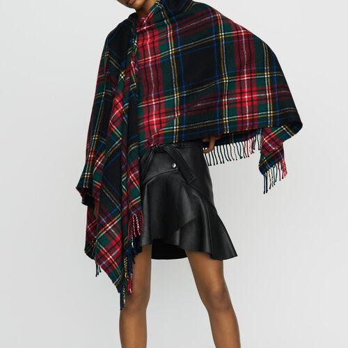 Bauwoll-Poncho mit Tartan-Print : Schals & Ponchos farbe Mehrfarbigen