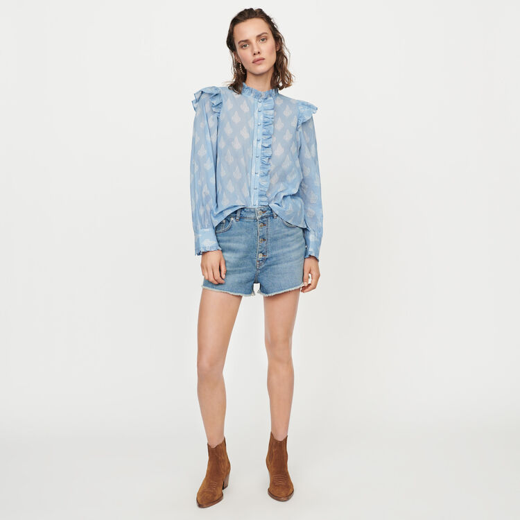 Top aus Baumwolle mit Print und Volants : Tops & Hemden farbe Blau