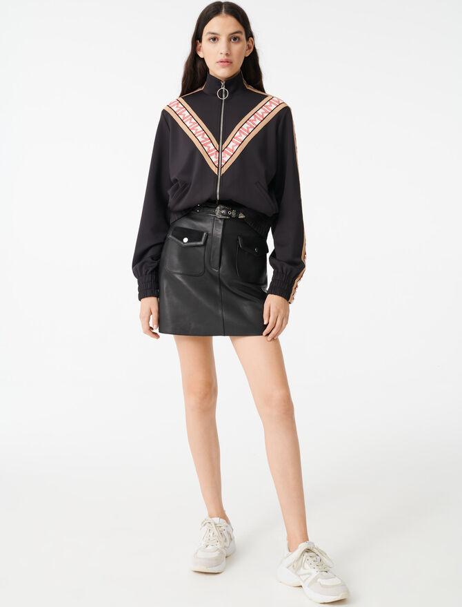 Sweatshirt mit Zipp und Kontraststreifen - Pullover & Strickjacken - MAJE