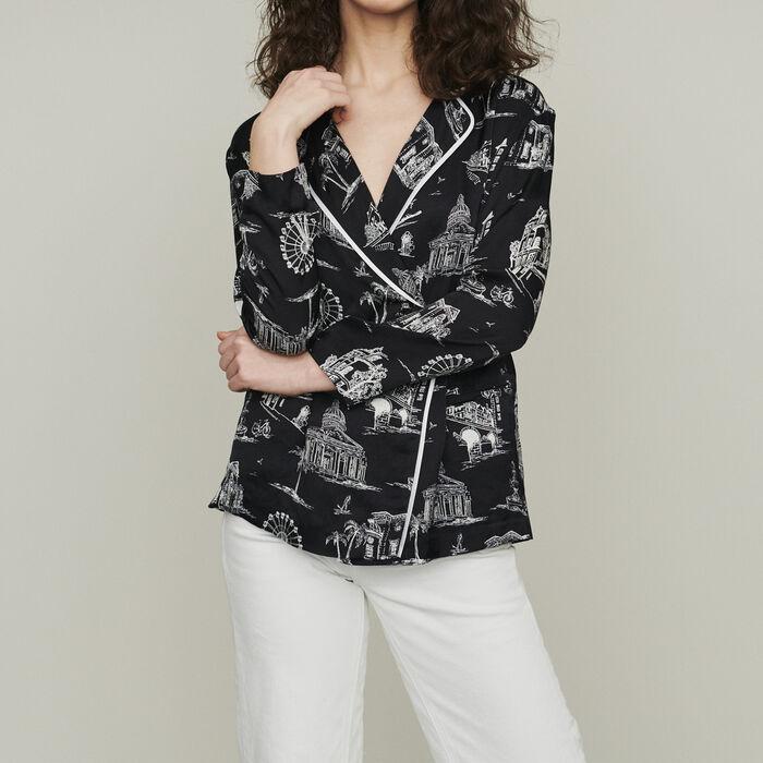 Bluse mit Paris Print : Hemden farbe SCHWARZ