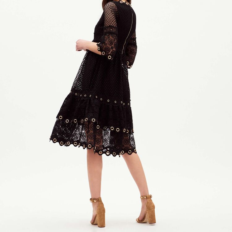 Long dress with eyelets in mesh : staff private sale farbe Schwarz