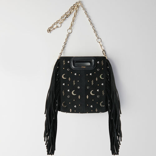 Mini studded suede M bag with chain : Kampagne FW19 farbe Schwarz