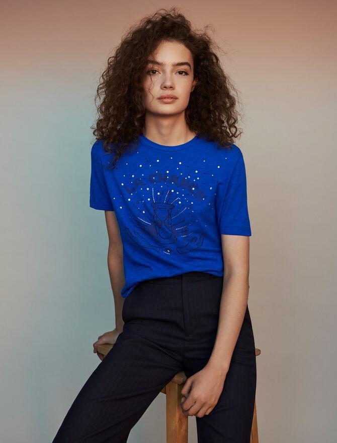 T-Shirt mit Stickereien - Midseason-Sales_ALL_BE - MAJE