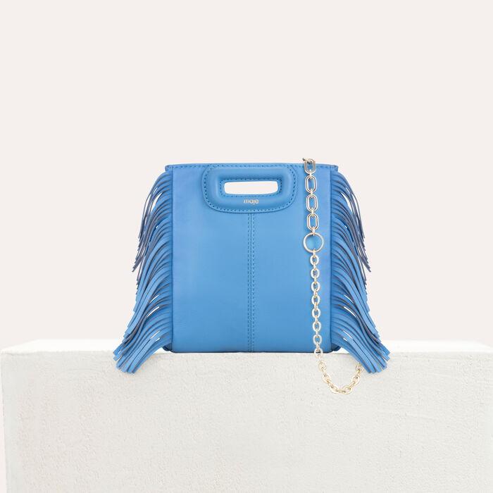 M Mini Tasche aus Veloursleder mit Kette : M Mini farbe Blau