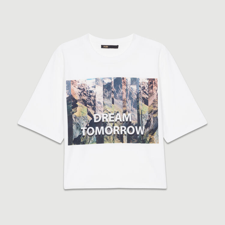 Kurzes T-Shirt mit Print : Neue Kollektion farbe Weiss