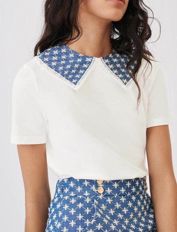 마쥬 티셔츠 MAJE Jersey-T-Shirt mit bestickten AErmeln,Blau