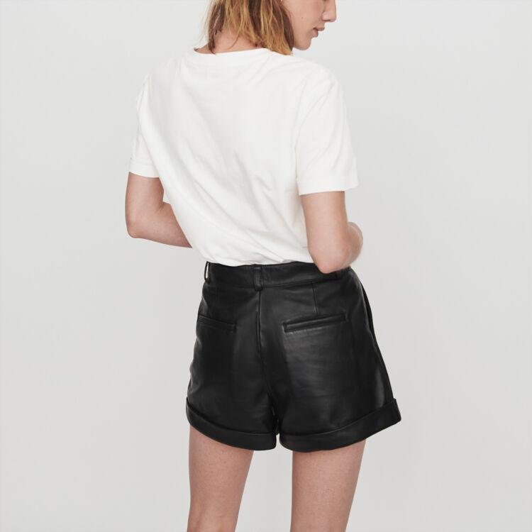 Leder Shorts mit Revers und Ziernähten : Röcke & Shorts farbe Schwarz