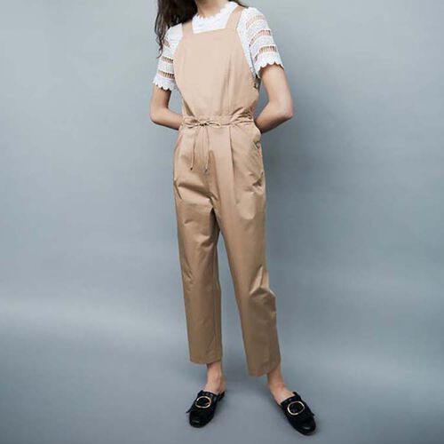 Jumpsuit with elasticated belt : Hosen farbe Beige