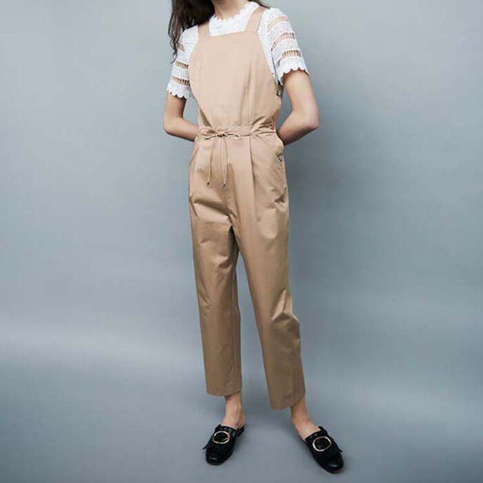 Jumpsuit with elasticated belt : Hosen farbe Beige
