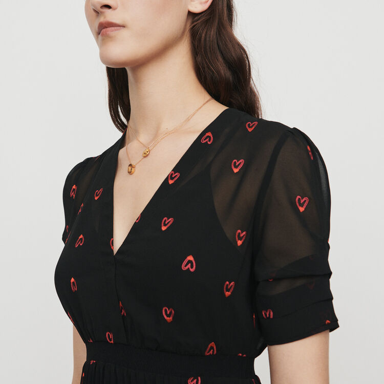 Dress with hearts embroidery : Kleider farbe Schwarz