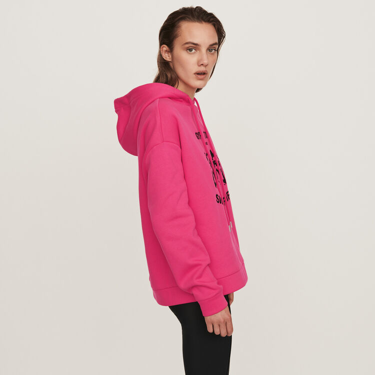 Sweatshirt mit besticker Kapuze : Pullover & Strickjacken farbe Fuchsiafarben