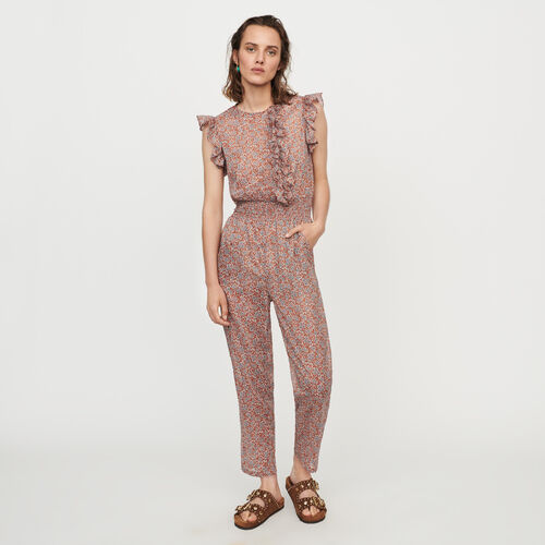 Floraler Jumpsuit aus Baumwoll-Voile : Hosen & Jeans farbe Terracotta