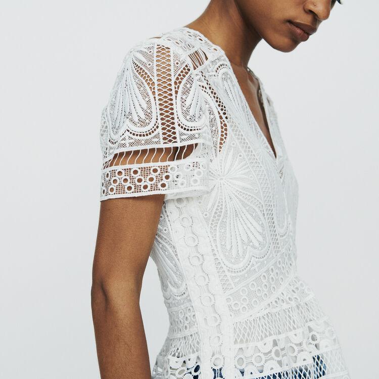 Guipure Top mit Schößchen : Tops & Hemden farbe  Off-White