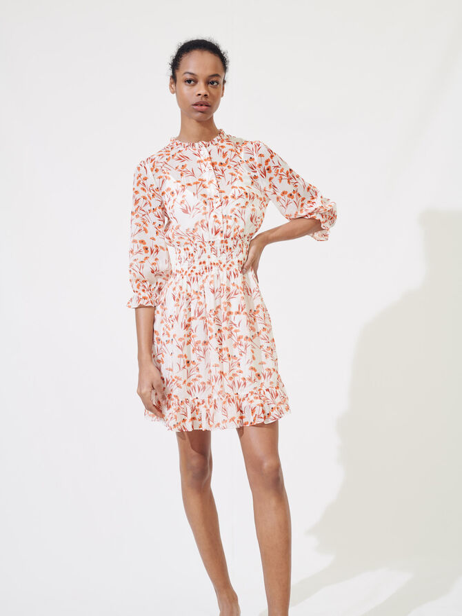 Gesmoktes Kleid mit Print - Kleider - MAJE