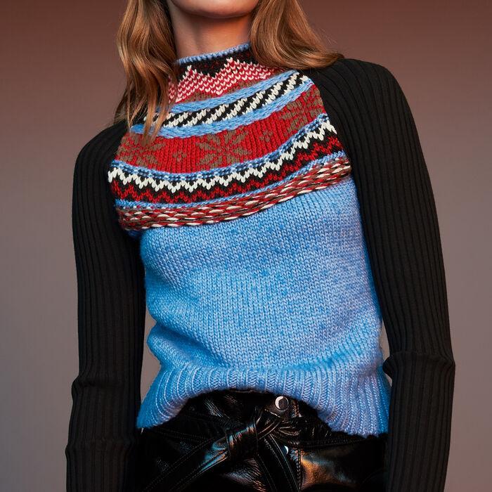 Edler Pullover aus Jacquart-Strick : Strickwaren farbe Mehrfarbigen