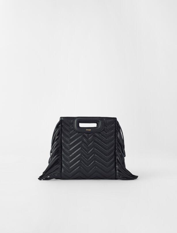 마쥬 M백 미니 MAJE M Mini-Tasche aus Steppleder mit Kette,Schwarz