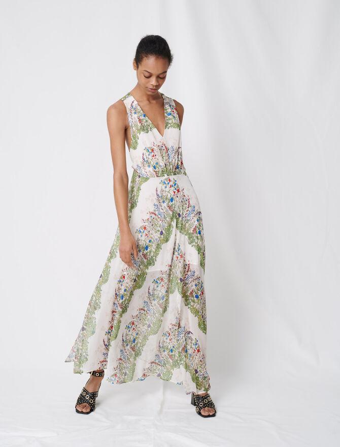 Foulard-Kleid aus bedrucktem Musselin - Kleider - MAJE