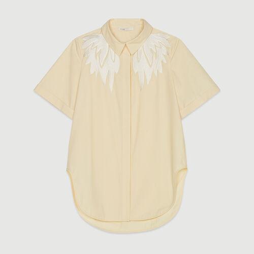 Kurzärmelige Bluse mit Stickerei : Tops & Hemden farbe Gelb