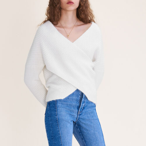 Überkreuzter Pullover aus Strick - Konfektionskleidung - MAJE