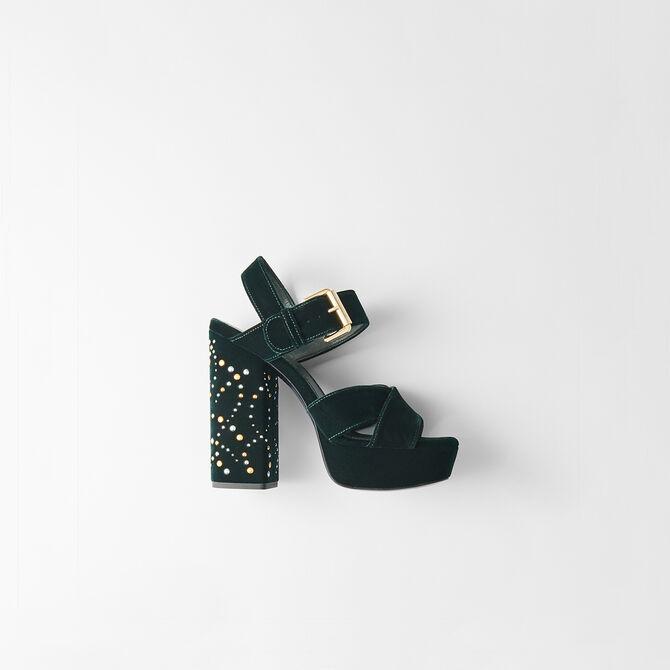 Absatz Sandalen aus Velour mit Studs - Accessoires - MAJE