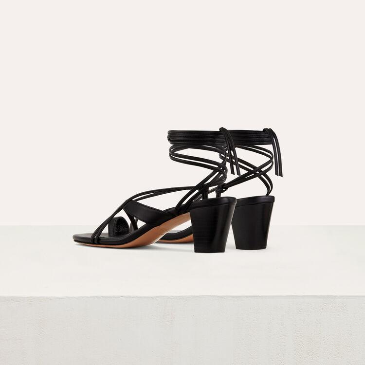 Schnür-Sandale mit flachem Absatz : Schuhe farbe Schwarz